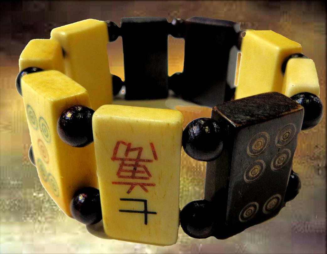 Mahjong Tile Elastic String Bracelet