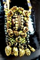 Tibetan Tapestry Bead-Woven Pendant